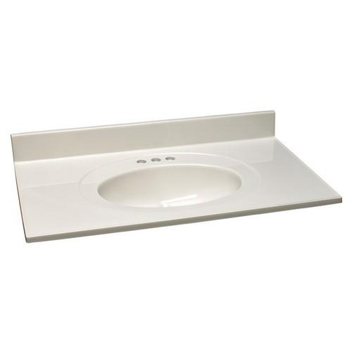 Design House 551051 Single Bowl Marble Vanity Top, 25 X 19, White