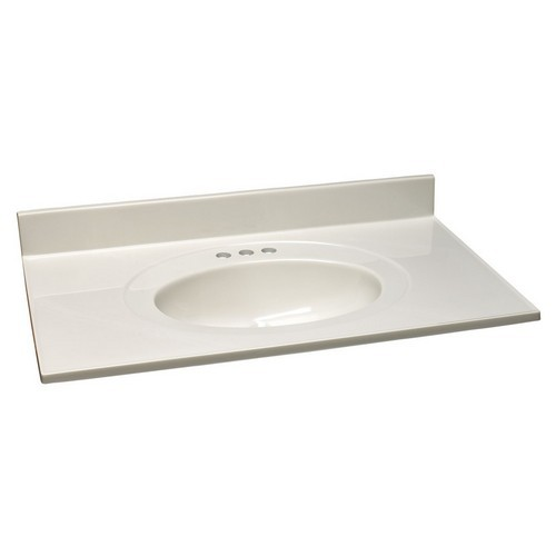 Design House 551176 Single Bowl Marble Vanity Top, 37 X 22, White