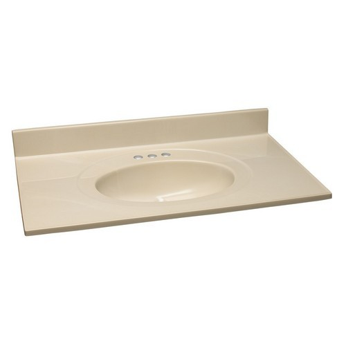 Design House 551192 Single Bowl Marble Vanity Top, 25 X 22, Solid White Bone