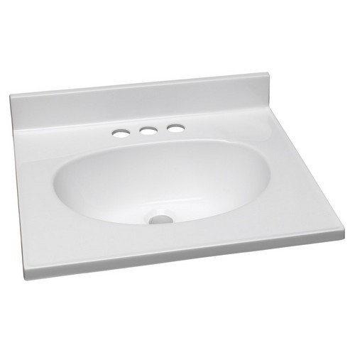 Design House 551242 Single Bowl Marble Vanity Top, 19 X 17, Solid White