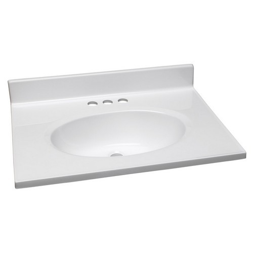 Design House 551267 Single Bowl Marble Vanity Top, 25 X 19, Solid White