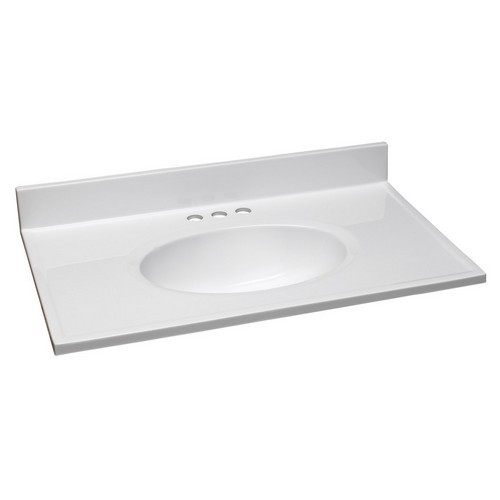 Design House 551333 Single Bowl Marble Vanity Top, 31 X 19, Solid White