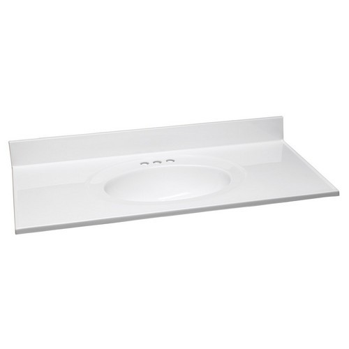 Design House 551358 Single Top Marble Vanity Top, 49 X 19, Solid White