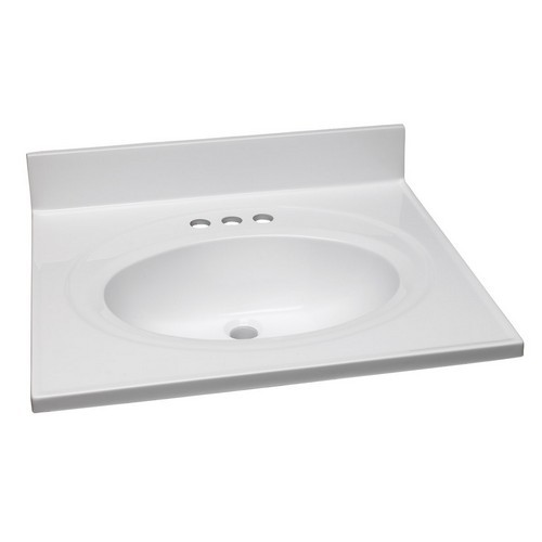 Design House 551366 Single Bowl Marble Vanity Top, 25 X 22, Solid White