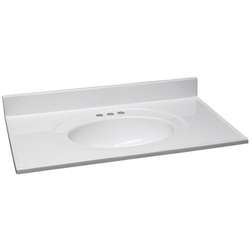 Design House 551382 Single Bowl Marble Vanity Top, 37 X 22, Solid White