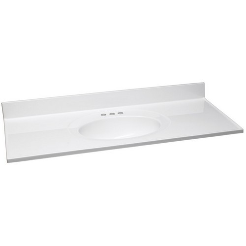 Design House 551390 Single Bowl Marble Vanity Top, 49 X 22, Solid White