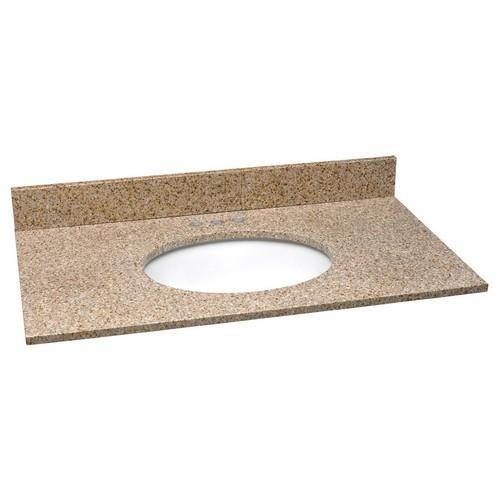 Design House 552489 Single Bowl Granite Vanity Top, 37 X 22, Golden Sand