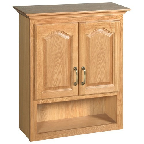 Design House 552844 Richland Nutmeg Oak Bathroom Wall Cabinet with 2-Doors, 26.7 X 30in