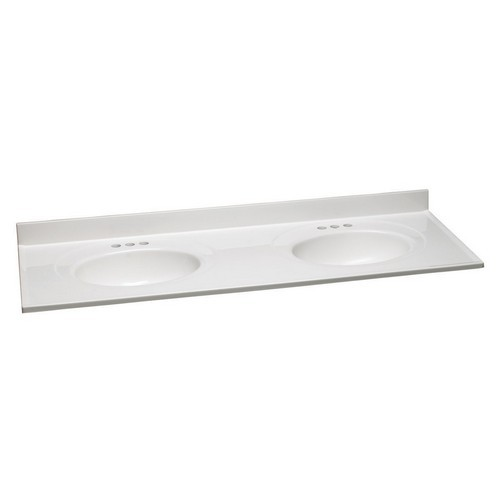 Design House 553313 Double Bowl Marble Vanity Top, 61 X 22, Solid White
