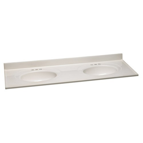 Design House 553347 Double Bowl Marble Top, 61 X 22, White