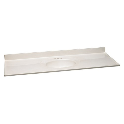 Design House 553354 Single Bowl Cultured Marble Vanity Top, 61 X 22, White