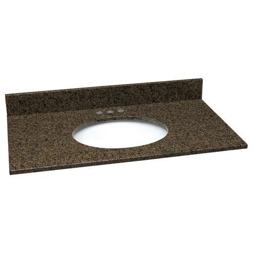 Design House 553735 Single Bowl Granite Vanity Top, 25 X 22, Tropical Brown