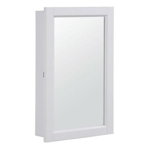 Design House 590505 Concord White Gloss Medicine Cabinet Mirror with 1-Door & 2-Shelves, 16 X 5-1/4 X 26in