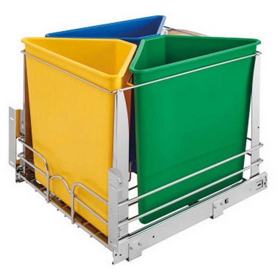 5BBSC Triple 25 Quart Bottom Mount Recycling Center Multi-Color Rev-A-Shelf 5BBSC-WMDM24-C