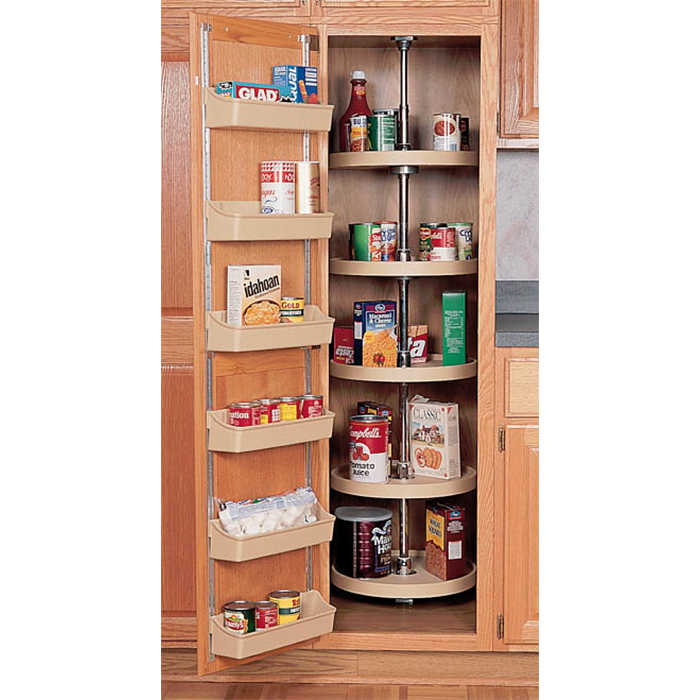 18 Polymer Full Circle Pantry Cabinet Lazy Susan Rev A Shelf Series Almond Finish 5 Shelf Set
