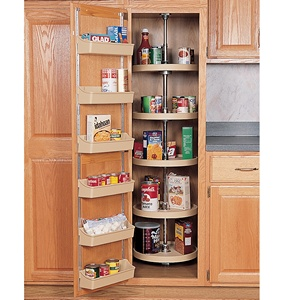 Rev-A-Shelf 6065-32-11-52, 32in Polymer Full Circle Pantry Cabinet Lazy Susan, Rev-A-Shelf Series, White, 5-Shelf Set with Hardware