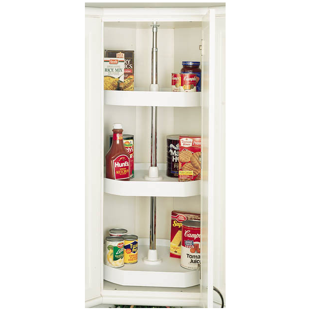 "22"" Polymer D-Shape 3 Shelf Lazy Susan Almond Independently Rotating Rev-A-Shelf 6273-22-15-536"