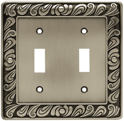 Liberty Hardware 64039, Double Switch Wall Plate, Brushed Satin Pewter, Paisley