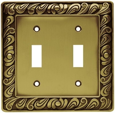 Liberty Hardware 64040, Double Switch Wall Plate, Tumbled Antique Brass, Paisley