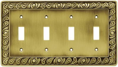Liberty Hardware 64043, Quad Switch Wall Plate, Tumbled Antique Brass, Paisley