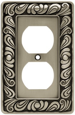 Liberty Hardware 64044, Single Duplex Wall Plate, Brushed Satin Pewter, Paisley