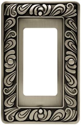 Liberty Hardware 64046, Single Decorator Wall Plate, Brushed Satin Pewter, Paisley