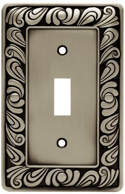 Liberty Hardware 64048, Single Switch Wall Plate, Brushed Satin Pewter, Paisley