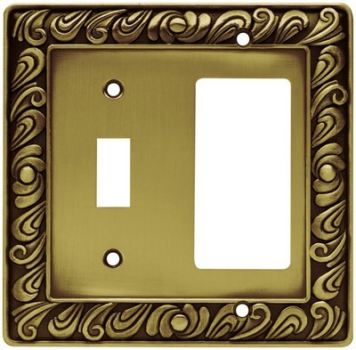 Liberty Hardware 64053, Single Switch/Decorator Wall Plate, Tumbled Antique Brass, Paisley