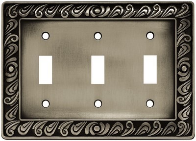 Liberty Hardware 64054, Triple Switch Wall Plate, Brushed Satin Pewter, Paisley