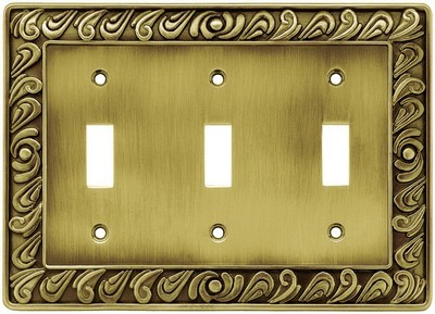 Liberty Hardware 64055, Triple Switch Wall Plate, Tumbled Antique Brass, Paisley