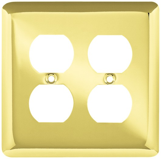 Liberty Hardware 64067, Double Duplex Wall Plate, Polished Brass, Stamped Round