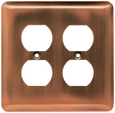 Liberty Hardware 64069, Double Duplex Wall Plate, Antique Copper, Stamped Round