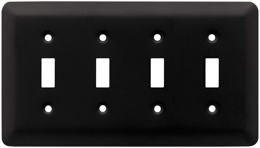 Liberty Hardware 64106, Quad Switch Wall Plate, Flat Black, Stamped Round