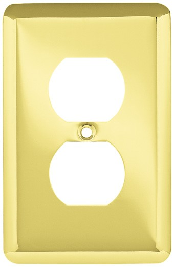 Liberty Hardware 64110, Single Duplex Wall Plate, Polished Brass, Stamped Round
