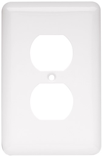 Liberty Hardware 64120, Single Duplex Wall Plate, White, Stamped Round