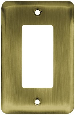 Liberty Hardware 64123, Single Decorator Wall Plate, Antique Brass, Stamped Round