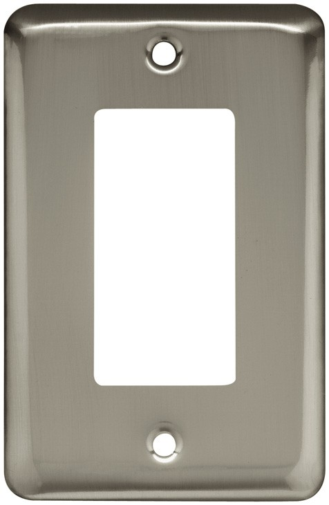 Liberty Hardware 64127, Single Decorator Wall Plate, Satin Nickel, Stamped Round