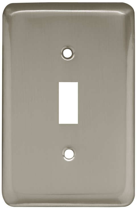 Liberty Hardware 64138, Single Switch Wall Plate, Satin Nickel, Stamped Round