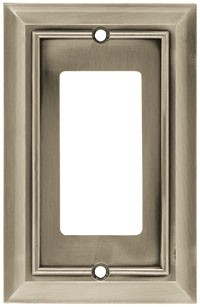 Liberty Hardware 64176, Single GFCI Rocker Wall Plate, Satin Nickel, Architectural