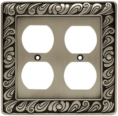 Liberty Hardware 64196, Double Duplex Wall Plate, Brushed Satin Pewter, Paisley