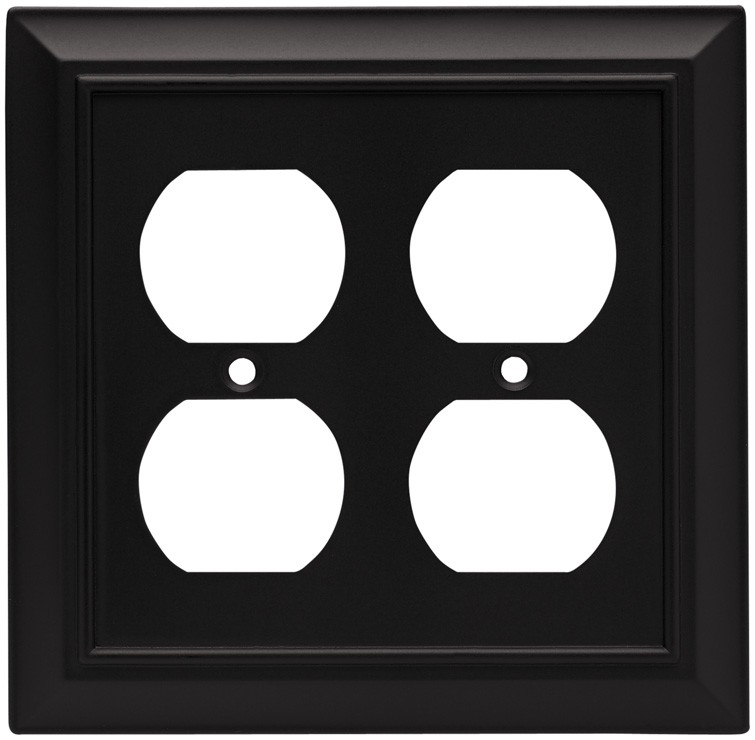 Liberty Hardware 64210, Double Duplex Wall Plate, Flat Black, Architectural