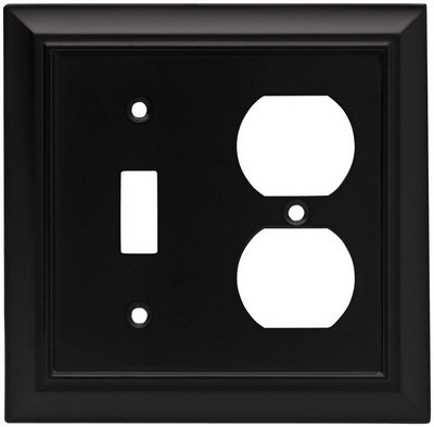 Liberty Hardware 64213, Single Switch/Duplex Wall Plate, Flat Black, Architectural