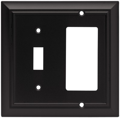 Liberty Hardware 64214, Single Switch/Decorator Wall Plate, Flat Black, Architectural