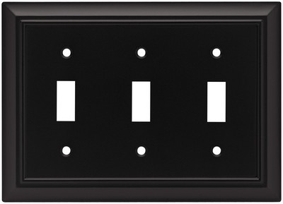 Liberty Hardware 64215, Triple Switch Wall Plate, Flat Black, Architectural