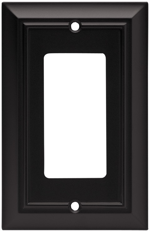 Liberty Hardware 64216, Single Decorator Wall Plate, Flat Black, Architectural