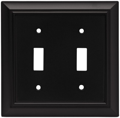 Liberty Hardware 64217, Double Switch Wall Plate, Flat Black, Architectural