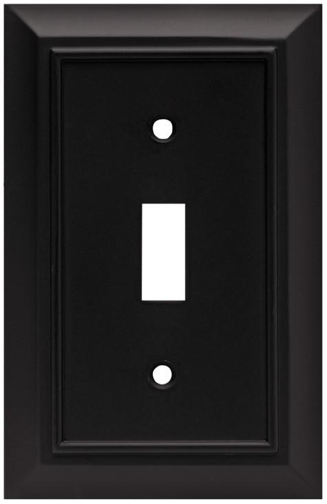 Liberty Hardware 64219, Single Switch Wall Plate, Flat Black, Architectural