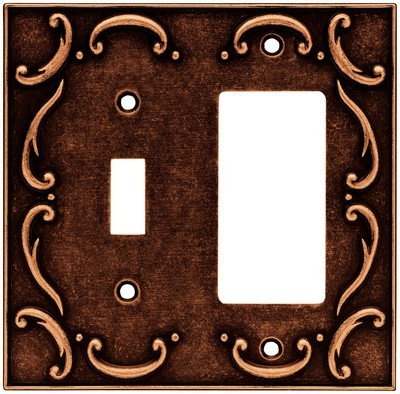 Liberty Hardware 64248, Single Switch/Decorator Wall Plate, Sponged Copper, French Lace