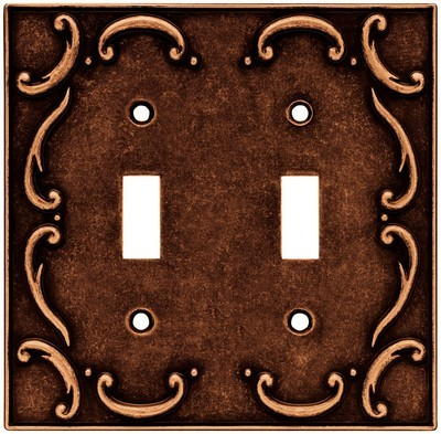 Liberty Hardware 64262, Double Switch Wall Plate, Sponged Copper, French Lace