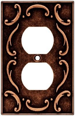 Liberty Hardware 64266, Single Duplex Wall Plate, Sponged Copper, French Lace